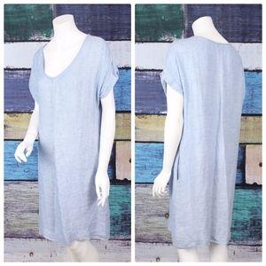 Flax Blue Gray 100% Linen Side Pocket Shift Dress